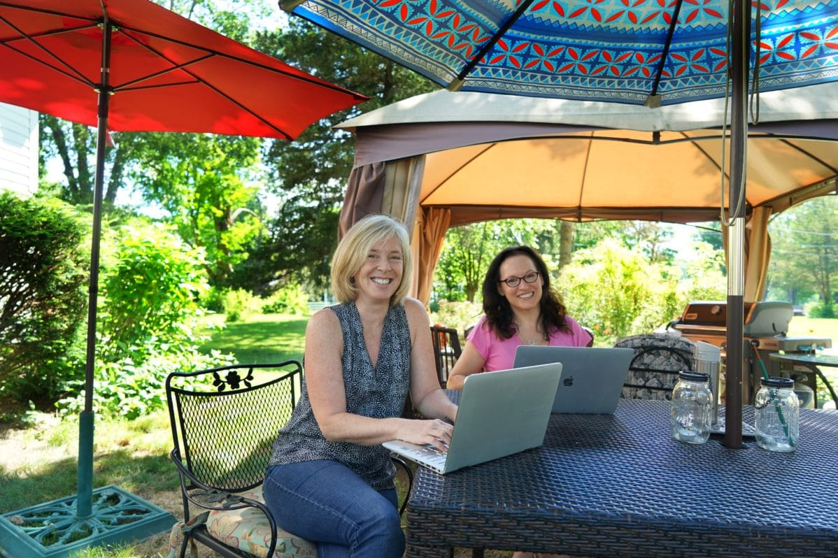 Robin Jaffin and Dédé Wilson, Co Founders of FODMAP Everyday in their summer office!