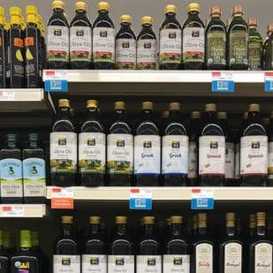 Shelf of olive oil