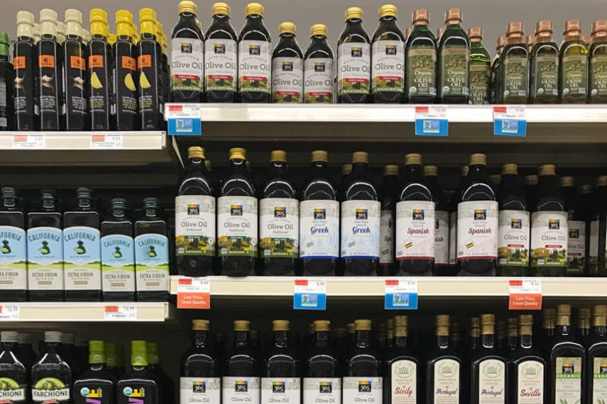 Shelf of olive oil
