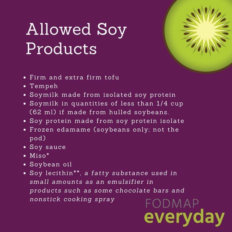 Soy Products Allowed in the Low FODMAP Diet