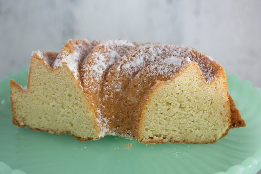 Vanilla Almond Tea Cake looking moist and densely delicious 3 days after baking.