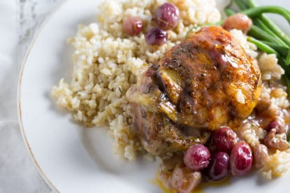 Roast Chicken and Grapes on a plate