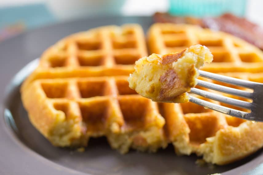 A forkful of Low FODMAP Cornbread Waffles