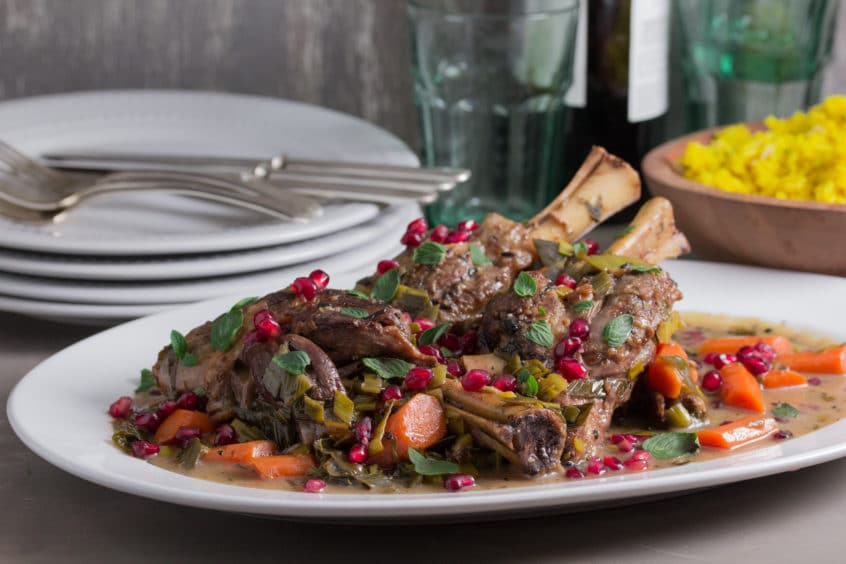 Low FODMAP Recipe for Moroccan Lamb Shanks with Pomegranate and Mint