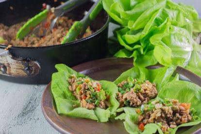 Monash University Certified Low FODMAP Asian Pork Lettuce Wraps - Low FODMAP