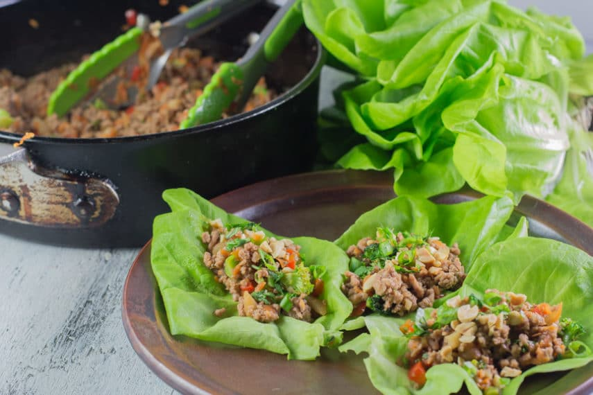 Are you in need of a quick weeknight dinner? This dish for Monash University Certified Low FODMAP Asian Pork Lettuce Wraps combines ground pork and an assortment of veggies, quickly stir fried in one pan.