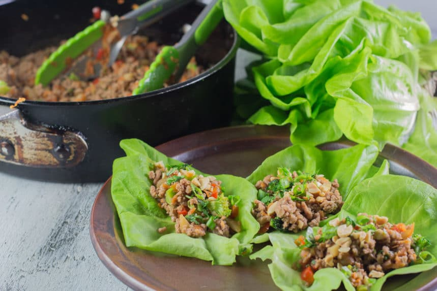 Monash University Certified Low FODMAP Asian Pork Lettuce Wraps - Low FODMAP