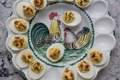 Low FODMAP Bacon deviled Eggs with chives