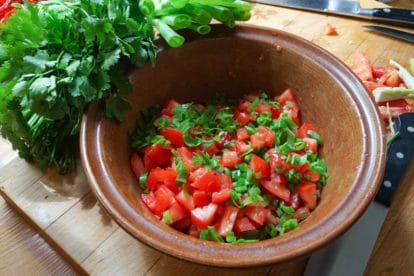 Use great tomatoes to make great fresh salsa. This very simple and quick recipe will give you a fresh accompaniment to our Easy Cheesy Quesadillas- for this recipe and more visit www.FODMAPeveryday.com
