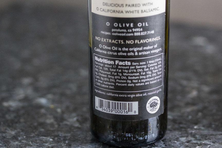 O olive oil label closeup