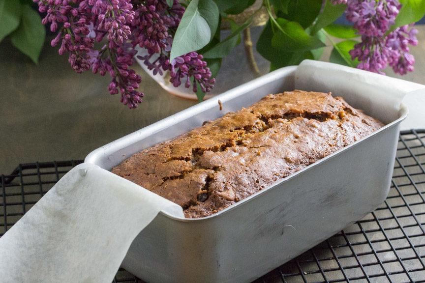 Poppy Seed Carrot Banana Bread in pan