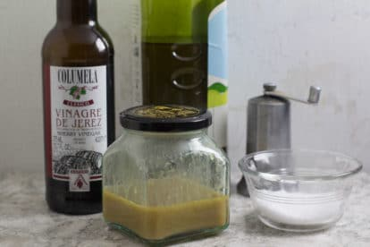Sherry Vinaigrette ingredients and dressing
