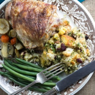 Fastest & Easiest Roast Turkey Ever- served with roast root vegetables, green beans and stuffing