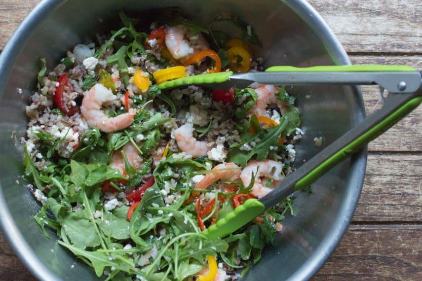 arugula, shrimp and quinoa salad