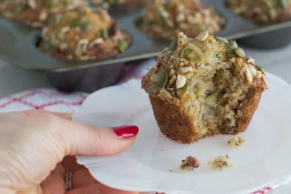 A crunchy moist low FODMAP banana muffin with nuts and seeds.