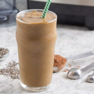 Chia seeds and cocoa, with coffee and banana make a great Low FODMAP smoothie.