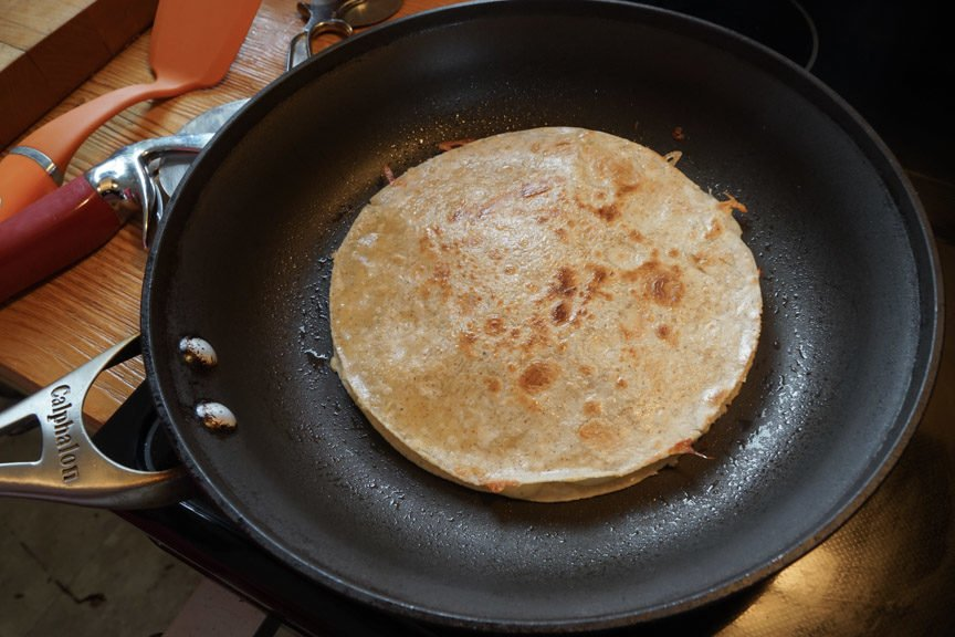 Quesadillas browning for an Easy Cheesy Quesadillas