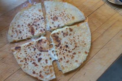 quesadillas on cutting board