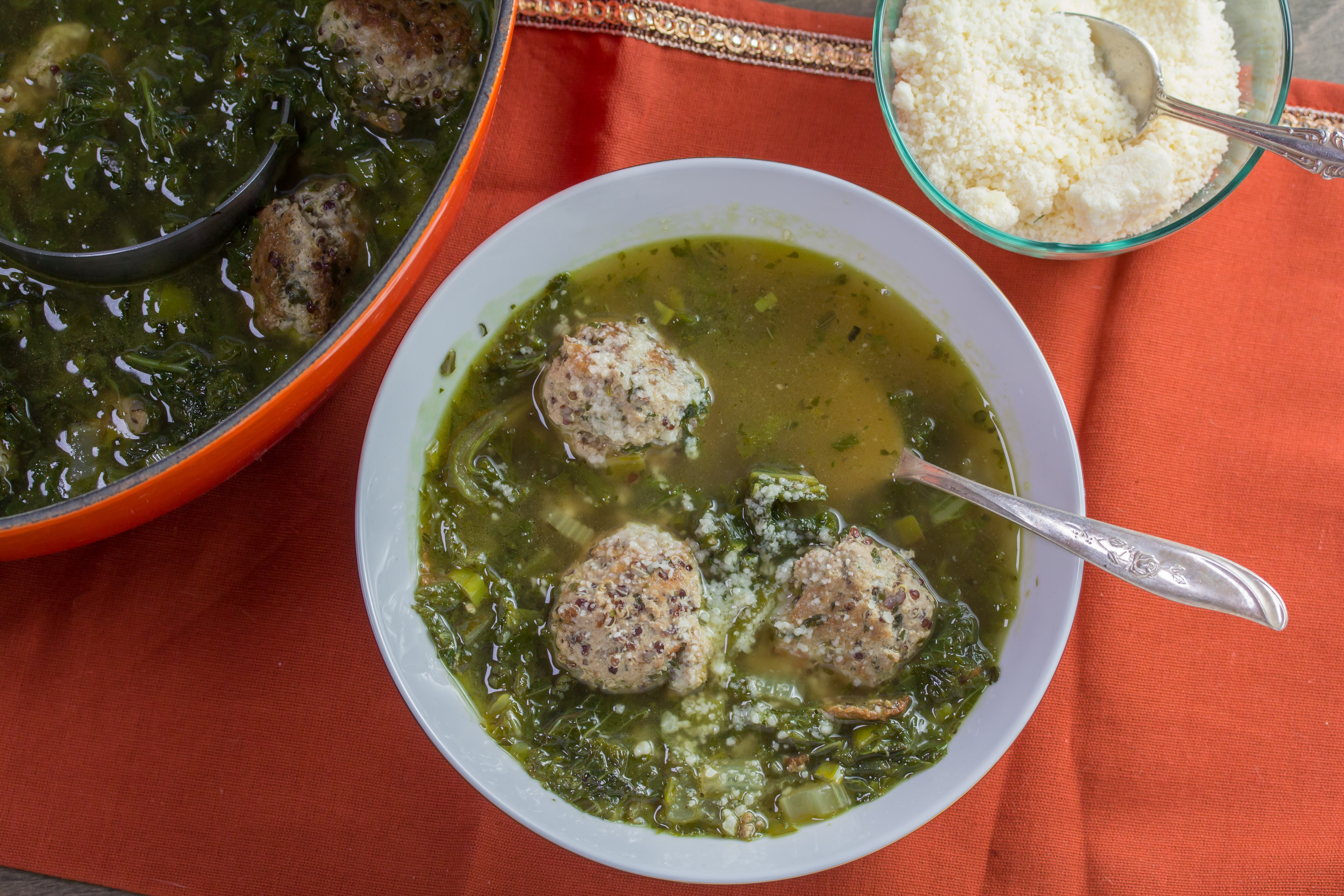 Ground turkey and cooked quinoa make for tasty, hardy meatballs in this brothy soup. You could also make this with chicken stock and ground chicken.