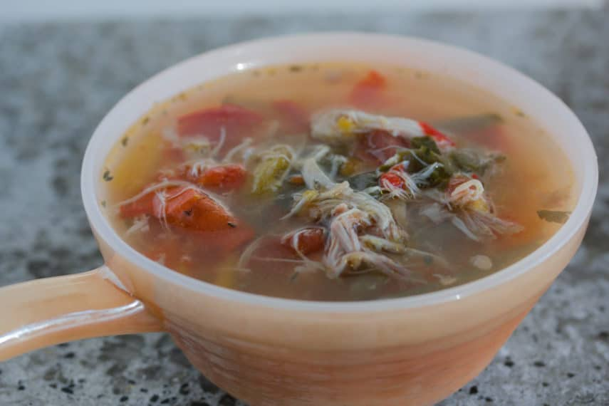 "A bowl of ""sick day soup""- low FODMAP Chicken soup with ginger and carrots."