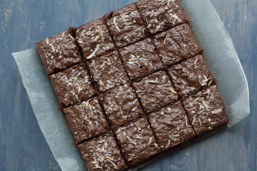 Toasted Almond Coconut Fudge Brownies