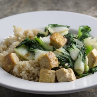 low FODMAP tofu bok choy plated