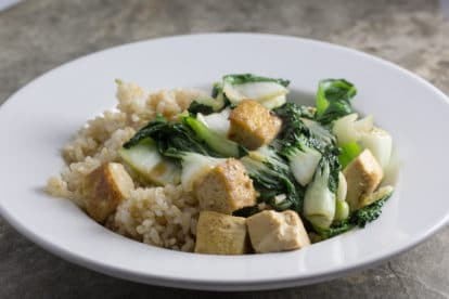 low FODMAP tofu bok choy plated