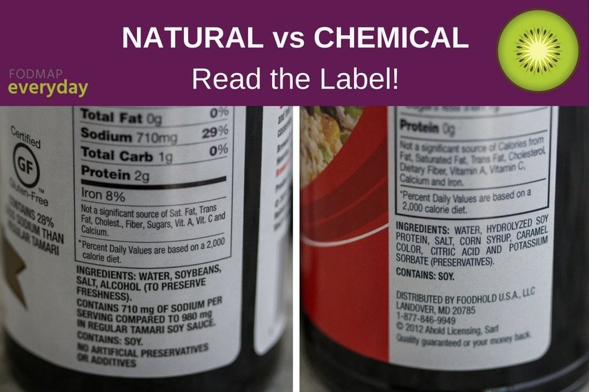 Comparison of labels between natural and added ingredient soy sauce.