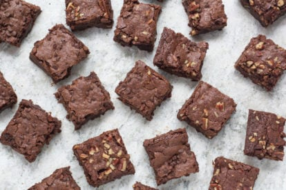 Low FODMAP decadent chocolate brownies - you can have BOTH plain and with nuts! All Low FODMAP!