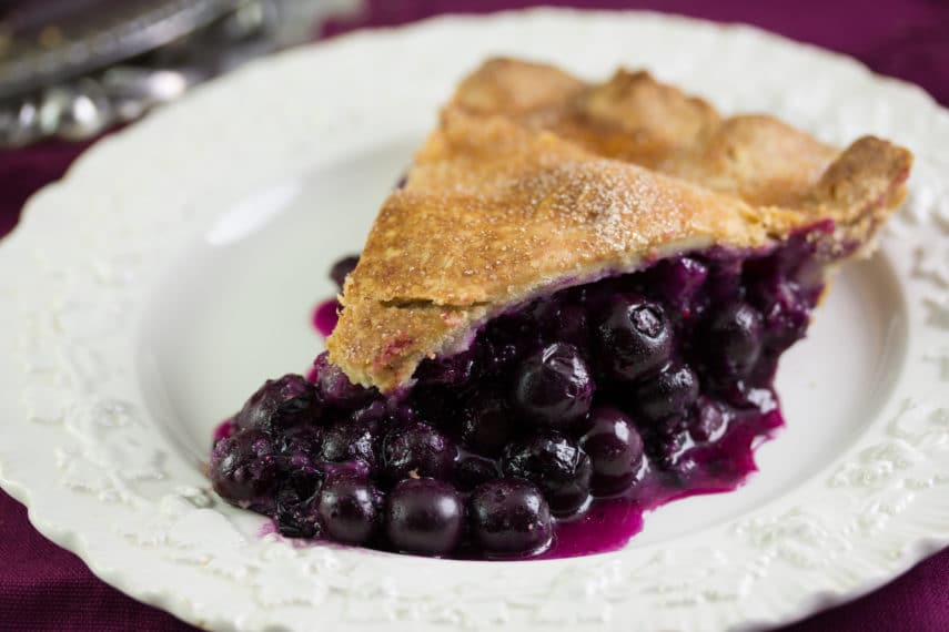 Low FODMAP blueberry pie slice