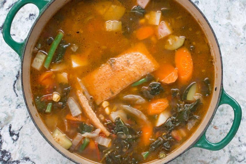 cheese rind in low FODMAP Summer garden vegetable soup.