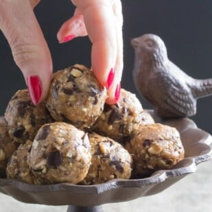 Low FODMAP chocolate peanut butter energy balls choosing