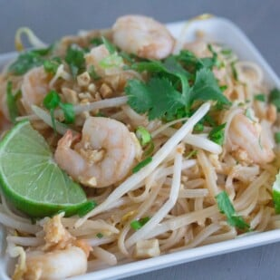 Chopsticks full of Low FODMAP Pad Thai- better than restaurant made! Monash University Certified Low FODMAP Recipe.