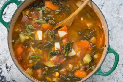 Low FODMAP summer garden vegetable soup
