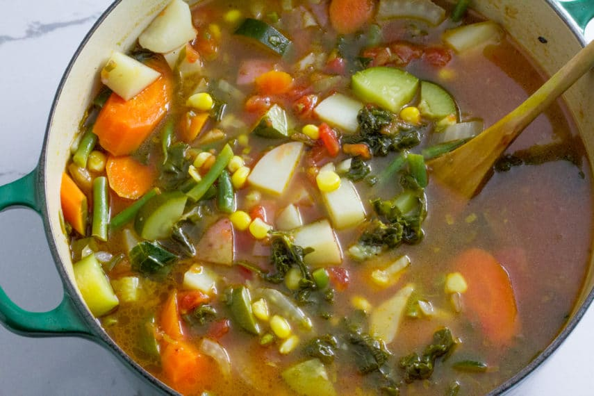 A Huge Pot Of Low FODMAP Summer Garden Vegetable Soup   Recipe Certified By  Monash University