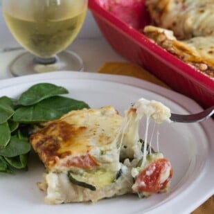 low FODMAP summer vegetable white lasagne with gooey cheese
