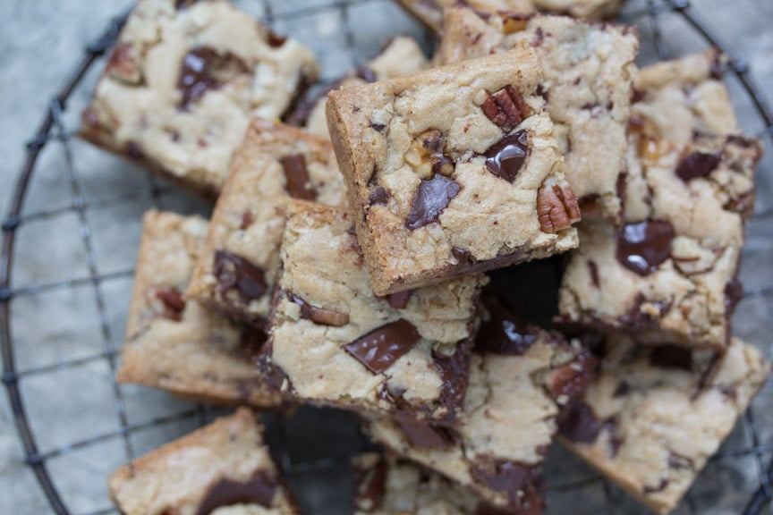 low FODMAP chocolate chunk Nut Blondies stacked