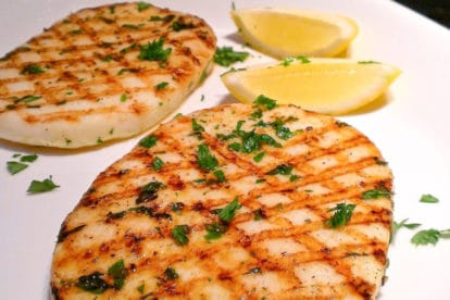 Grilled calamari steaks