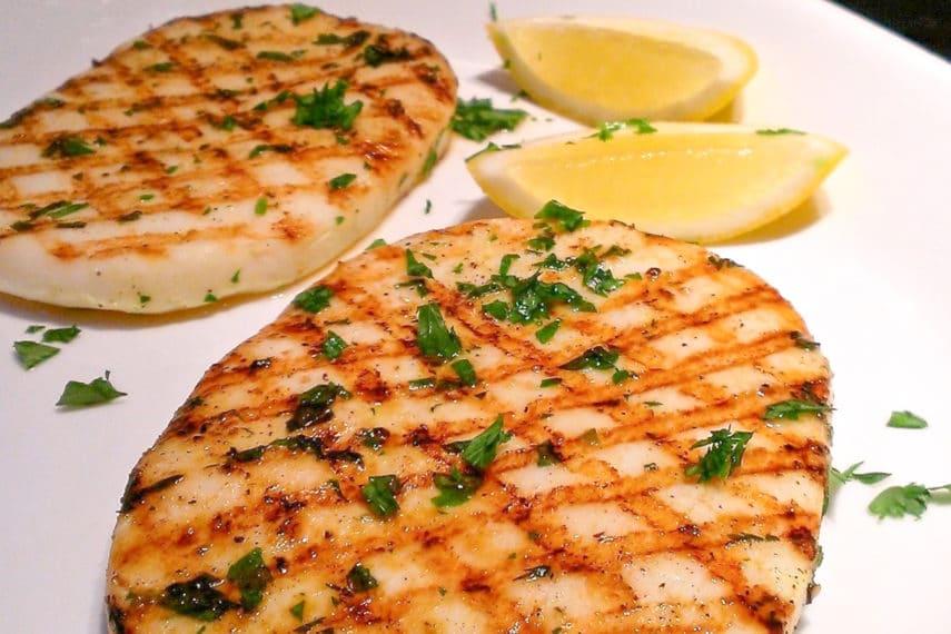 Grilled calamari steaks