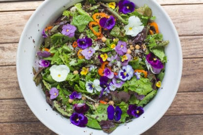 Greens and Grains Salad makes a vibrant bowl of yumminess.