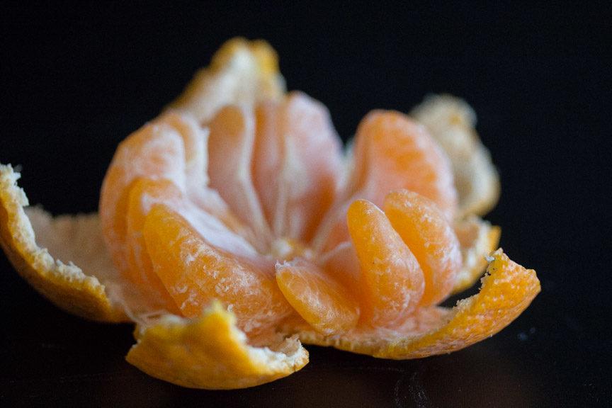Mandarins inside closeup