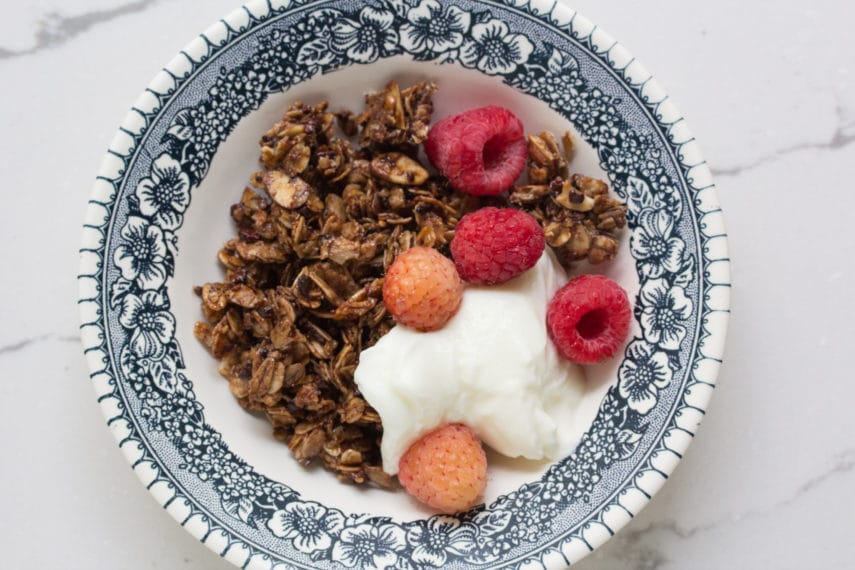 chocolate granola in bowl