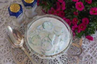 creamy dill cucumber salad overhead