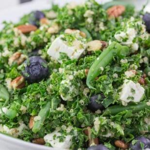 kale blueberry feta salad closeup