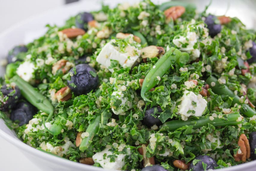 Low FODMAP Kale Quinoa Salad with Blueberries, Green Beans, Feta & Pecans are a powerhouse combo and beautiful as you can see in this close up shot.