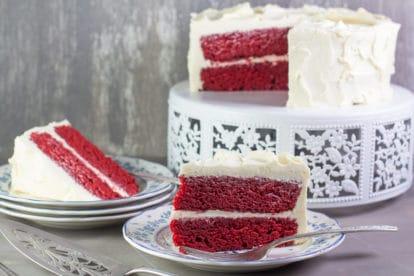 Enjoy a moist slice of Red Velvet Cake
