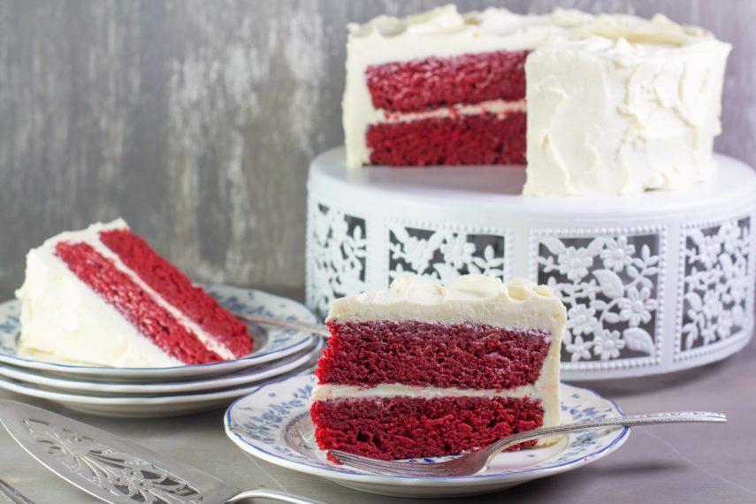 Enjoy a moist slice of low FODMAP Red Velvet Cake