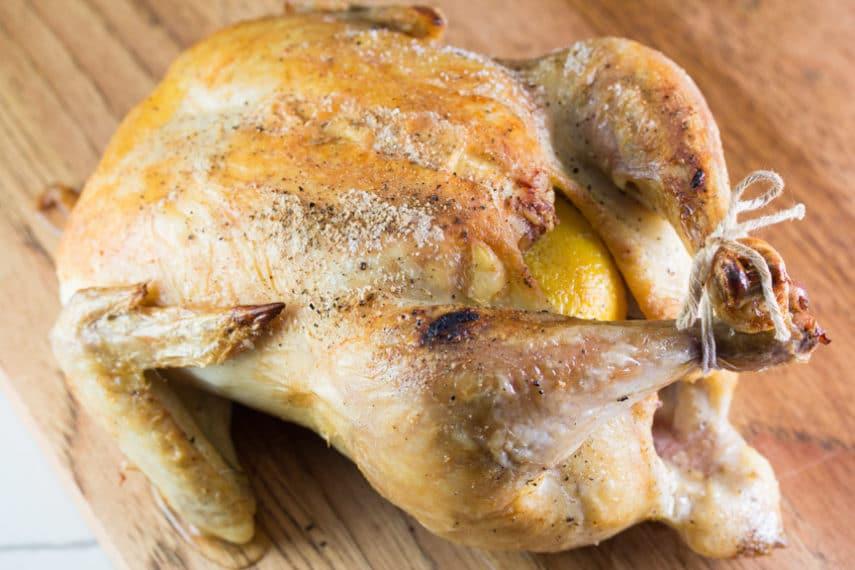 Monash University Certified Low FODMAP roast chicken stuffed with orange