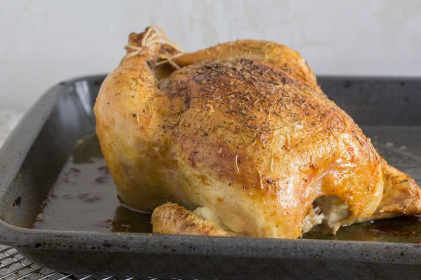 Monash University Certified Low FODMAP Roasted whole chicken right out of the oven