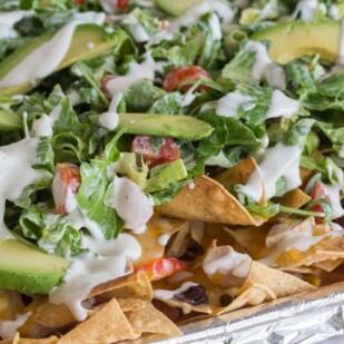 salad nachos closeup